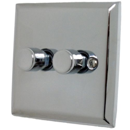 G&H SC12 Spectrum Plate Polished Chrome 2 Gang 1 or 2 Way 40-400W Dimmer Switch